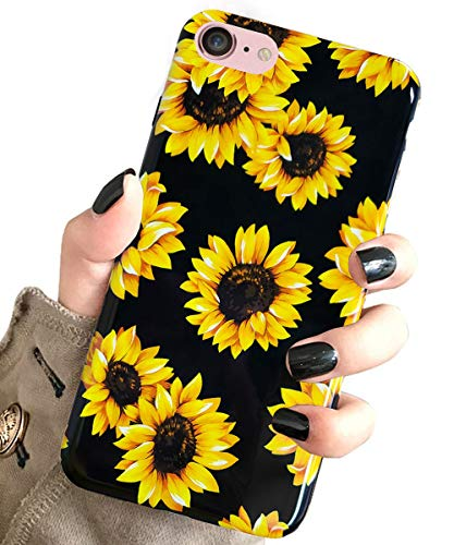 J.west iPhone SE 2020 Case,iPhone 8 & iPhone 7 Case, Vintage Floral Cute Yellow Sunflowers Black Soft Cover for Girls Women Flexible Fashion Design Pattern Drop Protective Case for iPhone 7/8 4.7 inch