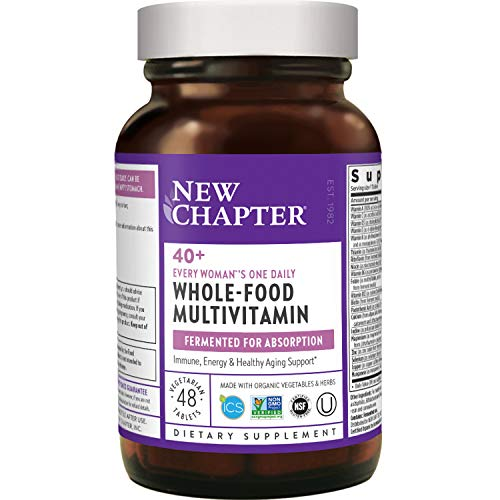 New Chapter Women's, Every Woman's One Daily 40+, Fermented with Probiotics + Vitamin D3 + B Vitamins + Organic Non-GMO Ingredients - ct Multivitamin, 48 Count (Pack of 1)