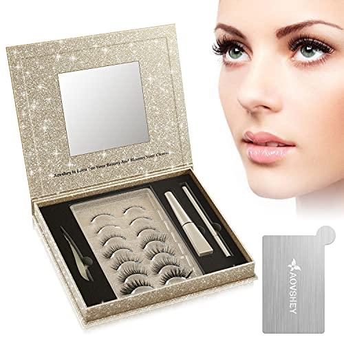AOVSHEY Invisible Magnetische Wimpern Eyeliner Set Ultraleicht Magnetic Lashes Mit Wasserdichtem Langlebigem Magnetic Eyelashes 7 Paar Geschenkbox