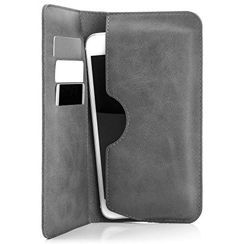 Saxonia Edle Tasche Etui Portemonnaie Premium Hülle Universal für Smartphones von 4 bis 5.5 Zoll für iPhone, Samsung, Huawei & mehr | Grau