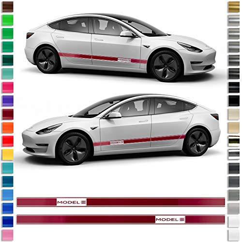 Auto-Dress® pagina strepen sticker set/decoratie geschikt voor Tesla 3 in gewenste kleur - motief: Model 3 111 m zwart mat.