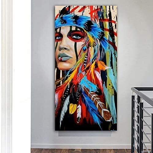 Frameless painting Female Warrior Aboriginal Girl Art Painting On Canvas Wall Art Living Room DecorationZGQ4489 30X60cm,Size:60X120cm,Colour:B Background wall painting ( Color : E , Size : 90X180cm )