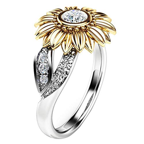 2PCS Women Elegant Diamond Rings Sunflower Exquisite Party Wedding Engagement Rings Band Gifts Jewelry (Gold, 7)