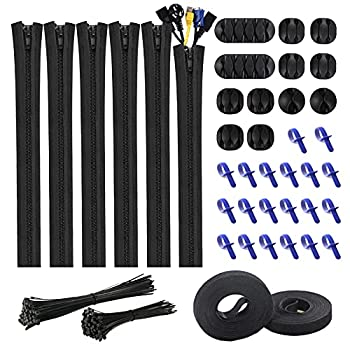 Cable Management Kit 141 PCS Wire Organizer Desk Cord Organizer for Home Office Computer TV Car with 6 Cable Sleeves 12 Cord Clips Holder 20 Cable Ties 2 Adhesive Roll Ties 100 Self-Locking Zip Ties