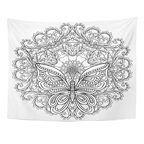 Elinna Decor Wall Tapestry Butterfly and Floral Mandala Coloring Book for Adult Older Children Page Outline Drawing 60 X 50 Inches Wall Hanging Picnic for Bedroom Living Room Dorm 60x40in(100x150cm)