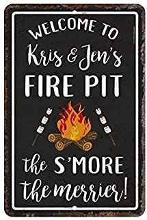 BIN SHANG Metal Room Sign Personalized Vintage Distressed Look Fire Pit S'More The Merrier Aluminum Wall Poster Yard Fence Decor Sign Gift
