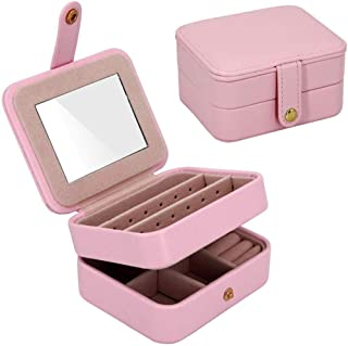Afzos Small Travel Jewelry Box Portable Organizer Display Storage Case for Rings Earrings Necklace, Best Gifts for Girls Women (Pink)