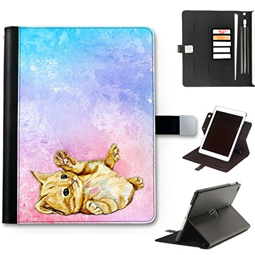 Cat Kitten Case For Apple iPad Air 4 (2020) 10.9 inch, Watercolour Art Print leather iPad Case, side flip wallet case, 360 swivel folio cover
