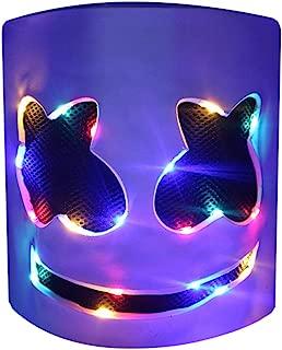 DJ LED Mask - Music Festival Party Light Up Mask Cosplay Costume - Carnaval Halloween Disco Headgear Prop Latex Full Head Hat - Carnival DJ Helmet White