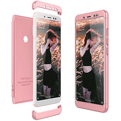 CE-Link Cover Xiaomi Redmi Note 5 360 Gradi Full Body Protezione Custodia Xiaomi Redmi Note 5 Silicone Rigida Snap On Struttura 3 in 1 Antishock e Antiurto Case AntiGraffio Molto Elegante - Oro Rosa