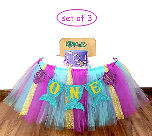 E&L 3 in 1 Mermaid Themed High Chair Decorations Set, High Chair Tutu (Purple, Blue & Gold), & Mermaid One Pennant Banner & Mermaid Cake Topper -One- for Baby Girl/Boy First Birthday Decorations