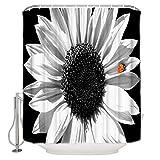 Duschvorhang, Marienkäfer auf weißer Sonnenblume, Duschvorhang, schimmelresistent, extra lang, für Badezimmer mit 12 Haken
