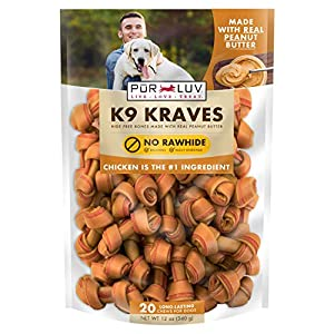 Pur Luv K9 Kraves Rawhide Free Bone Dog Treats, Peanut Butter, Brown (84723)