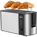 IKICH 4 Slice Toaster, Stainless Steel, Extra Wide 4Slice Long Slot Toaster, 6