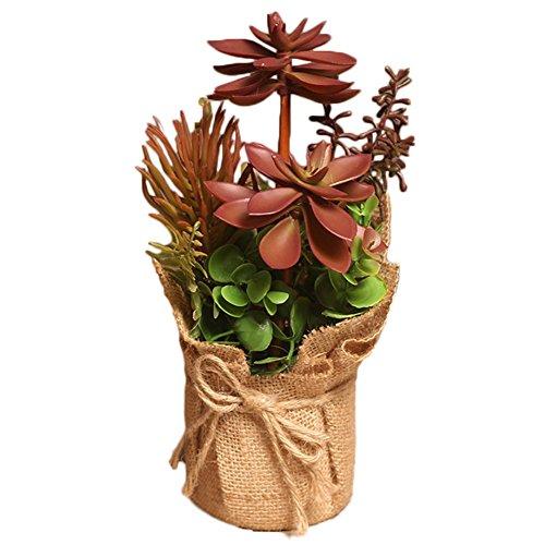 Outflower Pot de fleurs recouvert de chanvre avec succulentes artificielles Style champêtre Idéal pour décorer votre salon ou une table Rouge 25 x 14 cm 25*14cm rouge