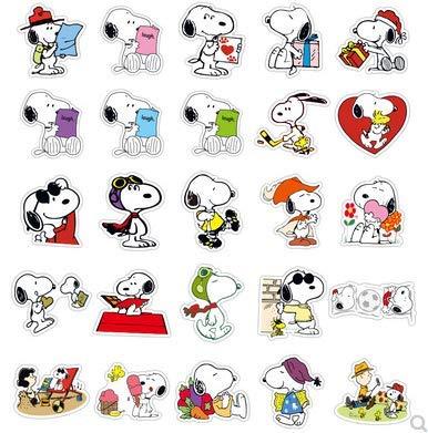 ZHXMD Pegatinas de Maleta Snoopy, Bonitas Pegatinas de decoración para Maletas, Pegatinas de Anime de Dibujos Animados con Personalidad a Prueba de Agua, 50 Uds.