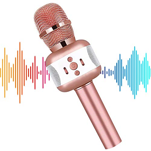 Microphone for Kids, Karaoke Microphone Wireless Bluetooth Portable Handheld Karaoke Mic Speaker Machine Christmas Birthday Home Party Kids Singing Toys Gifts for Android/iPhone/PC or All Smartphone