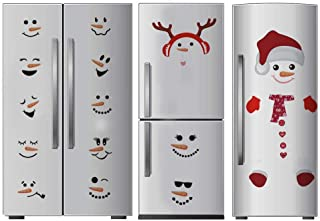 TOARTi Antlers Snowman Wall Decal, Christmas Sticker for Fridge Window Cling Decal, Vinyl Santa Claus Wall Decal,Lovely Snowman Face Art Wall Decor, Home Decorations