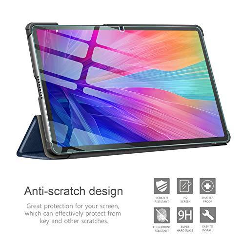 AROYI Hülle für Huawei MatePad T10S/ T10 2020 und Panzerglas, Ultra Schlank Schutzhülle Hochwertiges PU mit Standfunktion Glas Panzerfolie für Huawei MatePad T10S/ T10 2020, Dunkelblau