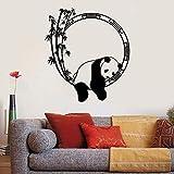 WERWN Calcomanía de Pared de Panda Oso Animal bambú Sala de meditación Dormitorio Oficina diseño de Interiores decoración Vinilo Pared Pegatina Estilo Chino