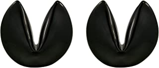 Black Chopstick Rest - Ceramic Fortune Cookie Spoon, Knife, or Utensil Rest, 1 3/4 Inches, Set of 2