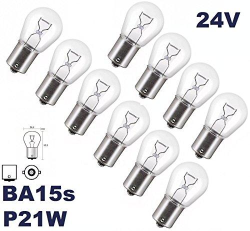24VOLT - 10 Stück - P 21W - BA15S - 24V Nfz LKW Beleuchtung - Glühlampe, Glassockellampe, Glühbirne, Soffitte, Lampen. Mit E-Prüfzeichen und ist für den Straßenverkehr zugelassen. INION®