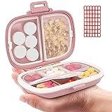 Daily Pill Organizer, 8 Compartments Portable Pill Case, Pill Box Hold Vitamins, Cod Liver Oil (2-Pink)