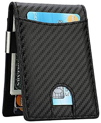 Money Clip Wallet - Mens Slim Front Pocket Leather Wallet RFID Blocking Minimalist Mini Wallet (Style 1 - Carbon Fiber/Black