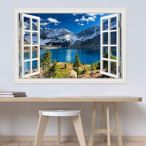 LUCKYYL Adesivi Murali Neve Montagna Lago Natura Finestra Visualizza Paesaggio Poster per Soggiorno Camera da Letto Home Decor 80x120cm