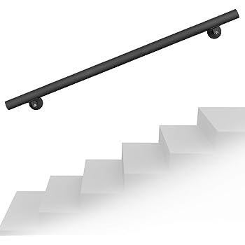 Set pasamanos barandilla montaje pared 190cm Negro Acero Sujección Escalera Seguridad Decoración: Amazon.es: Oficina y papelería
