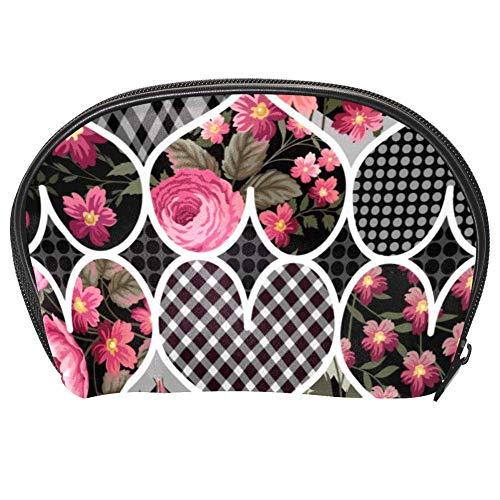 Bennigiry Trousse de toilette multifonction avec fermeture Éclair Motif patchwork Motif cœurs et roses
