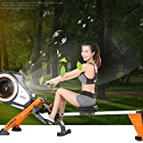 FYYDNR Rudermaschine, Fitnessausrüstung Trainingsmaschinen for den Heimgebrauch gebaut Räder zu Machen, ist leicht zu bewegen wenn Nicht in Gebrauch, 223 * 52 * 88cm - 3