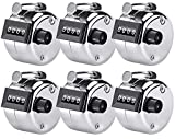 KTRIO Pack of 6 Metal Hand Tally Counter 4 Digit Tally Counters Mechanical Palm Counter Clicker Counter Handheld Pitch Click Counter Number Count for Row, People, Golf, Lap & Knitting, Silver