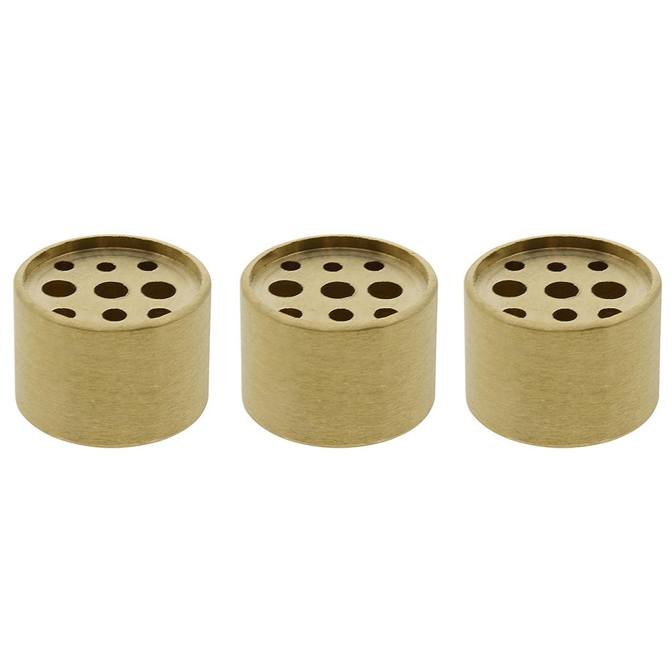 シンボル狂ったディレイSaim 3個Fine銅円柱形状Incenseホルダー9穴真鍮LotusスティックBurner for Incense