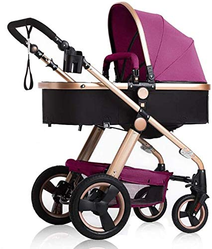 LAMTON Stroller is Suitable for Newborns, can sit and Recline Fast Folding Four Seasons Baby Stroller Suitable for Newborns to Send 6 Gifts, Suitable for 0-36 Months Baby,Blue (Color : Purple) LAMTON The stroller frame is made of stainless steel to make the stroller stronger. The stroller awning is made of linen and is very breathable. Stroller configuration: equipped with five-point seat belt, detachable armrest, adjustable push rod height, bottom enlarged basket The front wheel design of the stroller can be rotated 360°, the built-in spring shockproof, strong shockproof, adapt to all kinds of bumpy roads, make the baby more comfortable 1