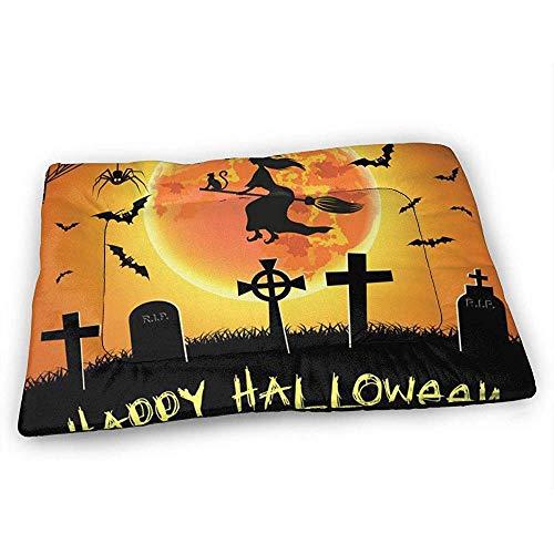 YAGEAD Spooky Halloween Witch Bats Grabsteine Hundebettmatte mit wasserdichtem Anti-Rutsch-Boden, waschbare Hundekistenmatte für schlafende Haustierkissen