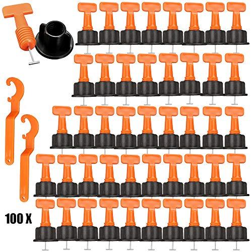 Fliesen nivelliersystem 100 Stück Flache Keramik Boden Wand Bau Werkzeuge Wiederverwendbare mit 2 Schraubenschlüssel