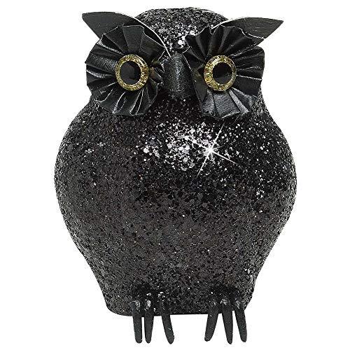 Widmann Black Glitter Owls 11Cm