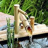 SGSG Kit de Fuente de bambú Decoración de Fuente de bambú Fuente de bambú Característica de Agua Fuente de Bomba Decoración Caño de Agua con Bomba Esculturas Estatuas Artes Artesanía 35cm