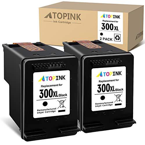 ATOPINK Cartucho de tinta remanufacturado para HP 300 300XL para HP DeskJet D1620 D2530 D2645 F2410 F4210 F4400 F4500 Envy 100 110 120 D410a PhotoSmart C4600 C470000 D110. A(2xNegro)
