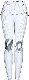 LUKEEXIN Women's Casual Zipper Patchwork Leggings White Jeans