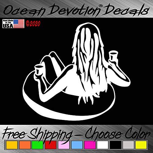 "Raft Girl & Palms V3X ""Ocean Devotion®"" Vinyl Decal / Sticker 5h x 6w Inches - Keywords... Sea Life, Surf, Surfing, Fishing, Salt Life, Reel Life, Beach Life, Automobile, Car, Truck, Boat, Window"