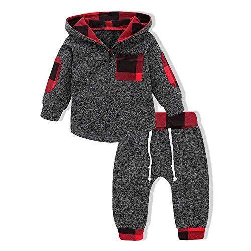 Moletom infantil com capuz e bolso para meninos e meninas + conjunto de roupas xadrez para outono, inverno
