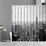 XCBN Cortina de Ducha con Paisaje de la Ciudad, Cabina de teléfono de Edificio Americano, Arquitectura de Calle, Cortinas de baño Impermeables para el hogar, A6 180x200cm
