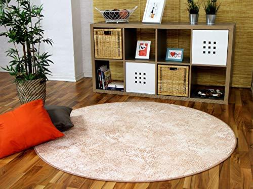 Mystic Designer Soft-Velours Teppich Vintage Terrakotta Rund in 7 Größen