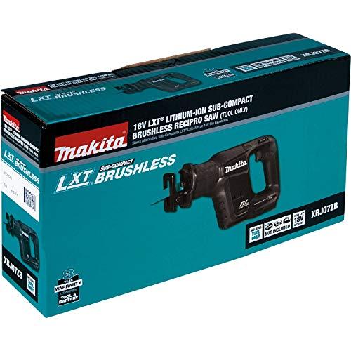 Makita XRJ07ZB 18V LXT Lithium-Ion Sub-Compact Brushless Cordless Recipro Saw, Tool Only