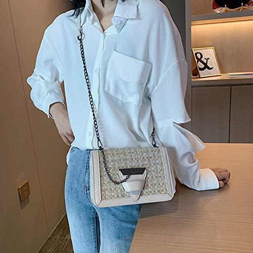 ZGNY Women's Contrast Tweed Shoulder Bag Damen Geldbörse und Handtasche mit dreieckiger Schnalle, C