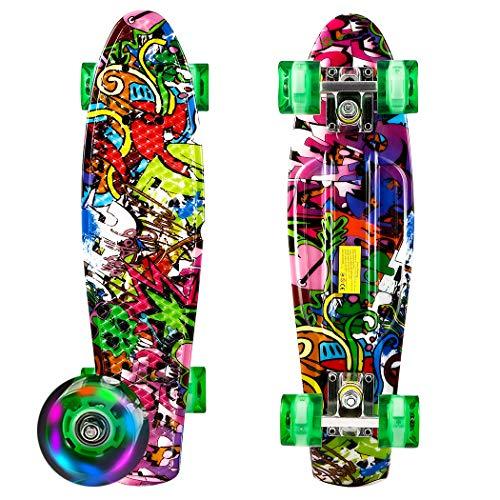 Eloklem Mini Cruiser Skateboard im Freien Spaß komplettes Deck für Erwachsene, Kinder, Anfänger, Mädchen Jungen (Color4, 22
