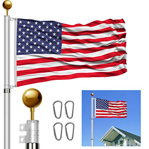 DISPLAYSWORKER 25FT Telescoping Flag Poles Kit,Heavy Duty 16 Gauge Aluminum Telescopic Flagpole Kit with 3'x5' USA Flag & Golden Ball Topper,Fly 2 Flags for Residential, Outdoor Garden