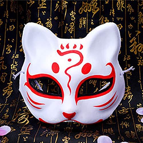FYPmj Mascara de Baile Blister máscara Maestro Gato, máscara con el Medio Ambiente PVC Gato, Zorro máscara Japonesa, máscara de la Danza cos difusa Mascara Facial (Color : H)